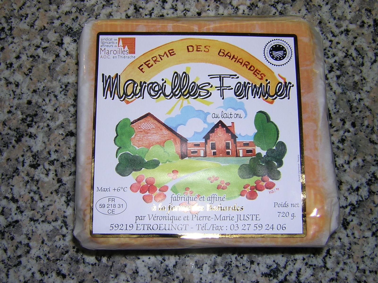 Maroilles fermier au lait cru emballé